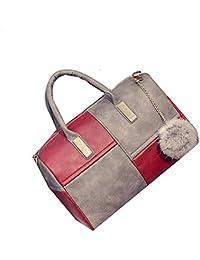 Di Grazia Italian Criss Cross Design, PU Leather Shoulder Sling Womens Satchel Handbag With Fur Pom Pom Charm... - B01EHEOG90