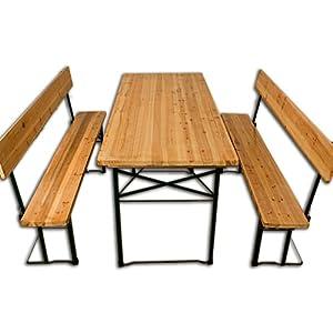 Bierzeltgarnitur mit Rückenlehne und klappbarem Tisch 180x70cm - Festzeltgarnitur Sitzgruppe Sitzgarnitur