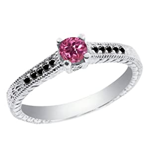 0.31 Ct Round Pink Tourmaline Black Diamond 925 Sterling Silver Engagement Ring