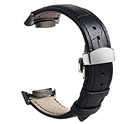 V-Moro Premium Soft Genuine Leather Crocodile Pattern Watch Band Replacement Strap with Adapters Connectors Butterfly Clasps For Samsung Galaxy Gear S2 SmartWatch SM-R720 / R730 Black Medium