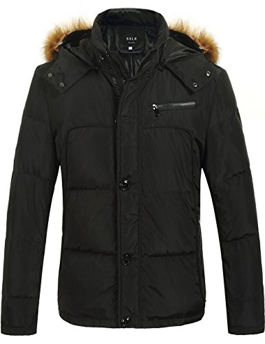 SSLR Men's Hooded Down Coat With Faux-Fur Collar Trim (Large, Black)