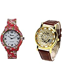 COSMIC COMBO WATCH- COLORFUL STRAP ANALOG WATCH FOR WOMEN AND BROWN ANALOG SKELETON WATCH FOR MEN - B01CJO83NU