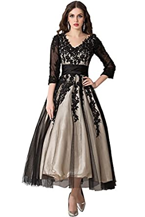 Sunvary Champagne and Black Long Sleeves Mother of Bride