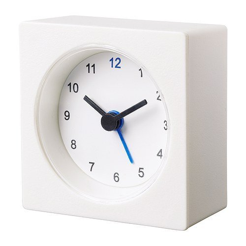 IKEA White Travel Alarm Clock Battery Operated NEW