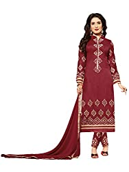 Suchi Fashion Maroon Embroidered Cotton Dress Material