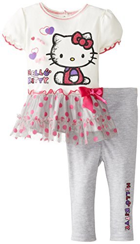 Hello Kitty Baby Girls Infant 2 Piece Legging Set With 3D Printed Bows, Arctic White, 24 Months front-364950