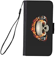buy Rikki Knighttm Skull On Fire Headphones Design Galaxy S4 Pu Leather Wallet Type Flip Case With Magnetic Flap And Wristlet For Samsung Galaxy S4 I9500