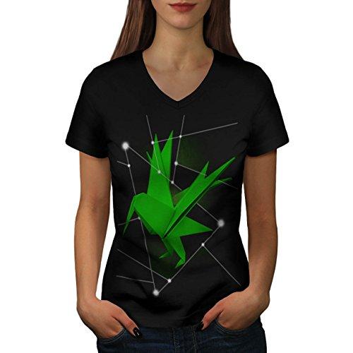 Origami Creatura Giappone mestiere Da donna Nuovo Nero M T-Shirt | Wellcoda