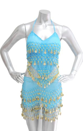 2-piece Belly Dancing Coin Hip Scarf and Top Set - Turquoise w/Gold Coins