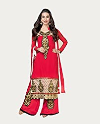 Amyra Women's Georgette Dress Material (AC675-01, Red)