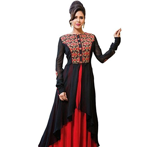 Sanjana Design Women's Georgette Anarkali Suit Dress Material ( KS7160_Free Size_Red)