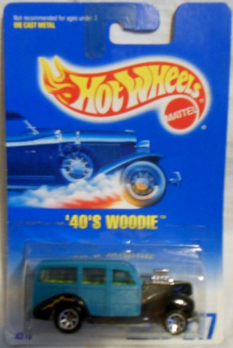 40's Woodie (Teal with 7 Spoke Wheels) Hot Wheels Collector #217 on Blue/white Card - 1