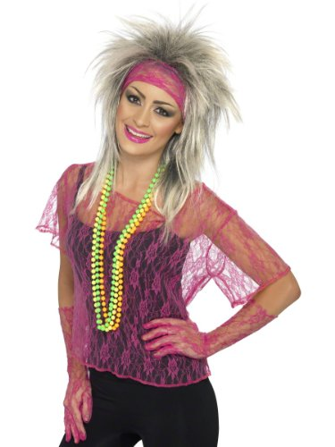 Smiffys Retro 80s Neon Pink Lace Pop Star Adult Halloween Costume
