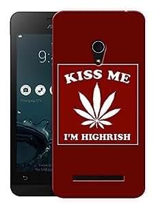 "Humor Gang Kiss Me - I'M Highrise - Red Printed Designer Mobile Back Cover For ""Asus Zenfone 5"" (3D, Matte, Premium Quality Snap On Case)"