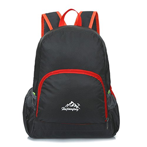 Iuhan® Fashion Outdoor Waterproof Bionic Camouflage Pattern Folding Backpack Package Bag Camo (Black)