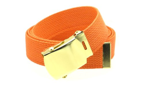 "Canvas Web Belt Military Style with Brass Buckle and Tip 54"" Long Many Colors (Orange)"