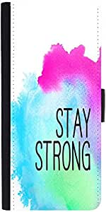 Snoogg Stay Strong Graphic Snap On Hard Back Leather + Pc Flip Cover Samsung ...