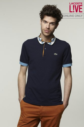 L!VE Semi Fancy Pique Polo with Geometric Pattern Rib Trim