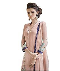 Peach Elegant Embroidered Chiffon Unstitched dress material