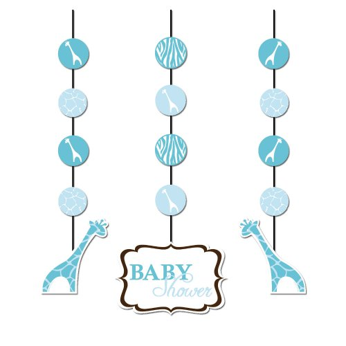 Creative Converting Baby Shower Wild Safari Blue 3 Count Hanging Cutouts Decoration