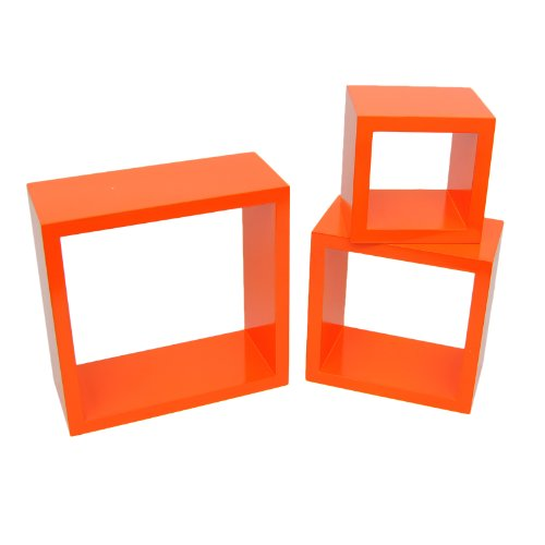 3er Set Lounge Cube Regal Design Retro 70er Wandregal Hängeregal in Orange