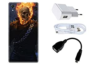 Spygen Sony Xperia Z2 Case Combo of Premium Quality Designer Printed 3D Lightweight Slim Matte Finish Hard Case Back Cover + Charger Adapter + High Speed Data Cable + Premium Quality OTG