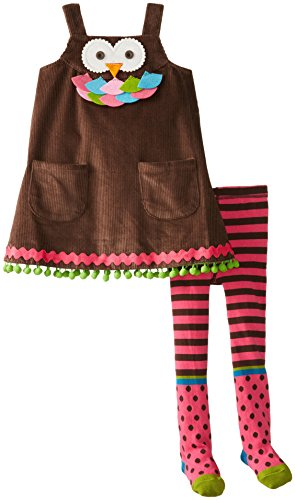 Mud Pie Little Girls' Owl Jumper With Tights, Brown, 2T front-573218