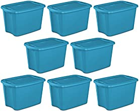 Sterilite 18301008 Lidded 18 Gallon Storage Box Tote Single Bin Containers 8 Pack