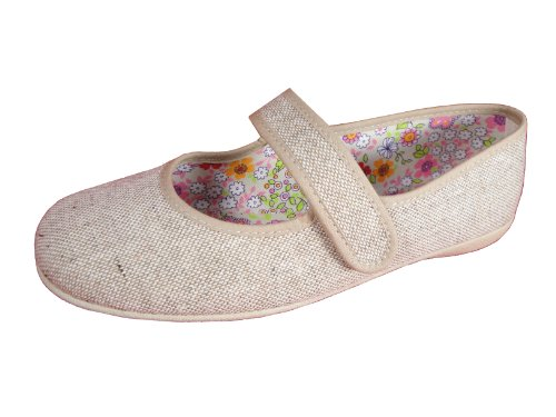Andres Machado Women's RAW Linen Mary Jane Big Size Shoes