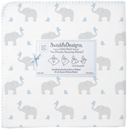 Swaddledesigns Ultimate Receiving Blanket, Elephant & Chickies, Morning Sky front-3262