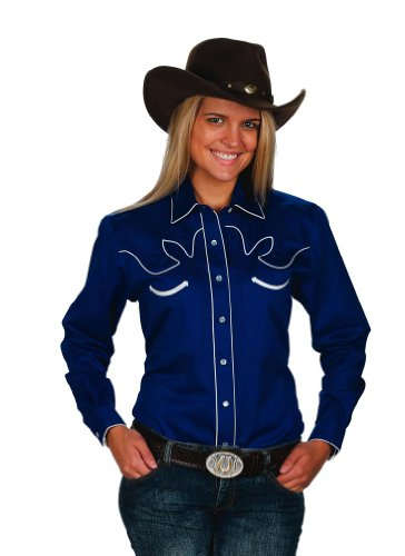 Womens Cotton Retro Western Cowboy Shirt-Royal-Small