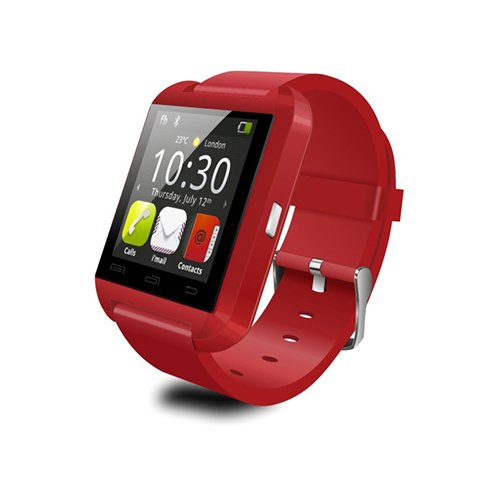 U8 Wearable Smartwatch,Bluetooth3.0 Camera Message Media Control/Hands-Free Calls/Anti-lost for Android/iOS Smartphone Red