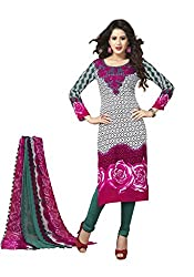 Globalepartner Women Synthetic Dress Material (Pink White Green) (GEP-DC-55)