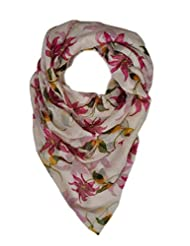 Elabore Women's Floral Printed Stole - Pink & Green
