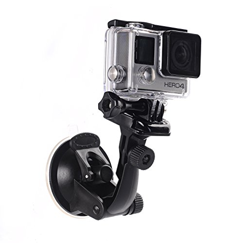Suction Cup Mount for GoPro Hero5, Hero4, Session, Hero3+, Hero3, Hero2, Hero1 Hd Cameras + Quick Release Buckle/Tripod Adapter Bracket Perfect for Car Windshield and Window