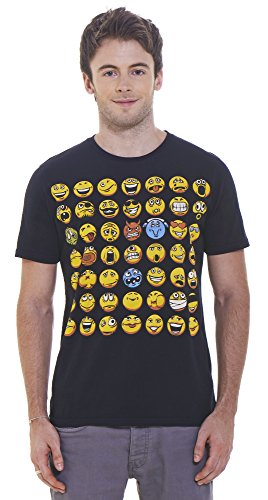 Retreez Funny Smiley Emoticons Emoji Face Graphic Printed Unisex Men / Women T-shirt - Black - Large