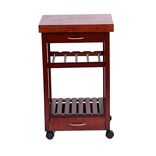HomCom 19-Inch Rolling Wooden Storage Cart with Drawers and Wine Rack, Brown