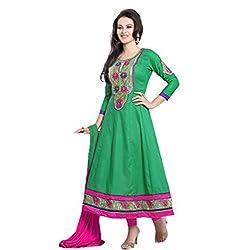 Parabdhani Fashion Women's Cotton Semi Stitched Suit (PBF_DM_197_Green_Free Size)