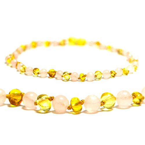 Certified Baltic Amber Teething Necklace for Baby (Rose Quartz/Lemon) - Anti-inflammatory ...
