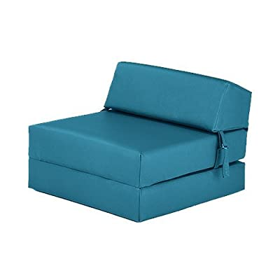 Turquoise Faux Leather Single Fold Out Foam Z Bed Guest Mattress Chair Bed