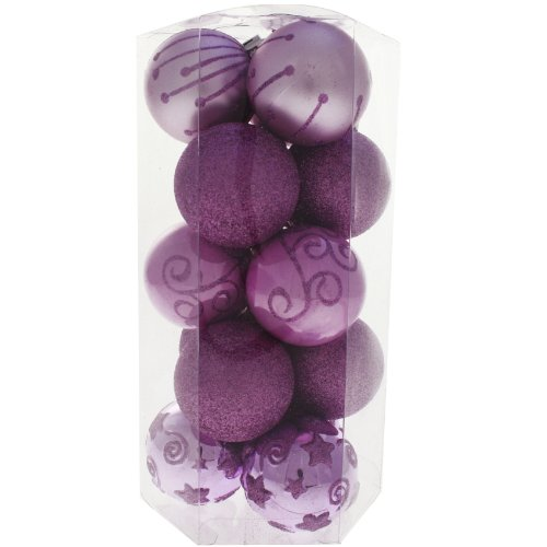 15 Piece Purple, Pink and Silver Deluxe Christmas Tree Bauble Pack