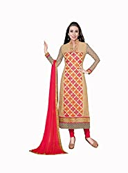 Amyra Women's Georgette Dress Material (AC710-01, Beige)