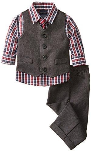 Nautica Baby Boys' Heather Herringbone Vest Set, Dark Grey, 24 Months