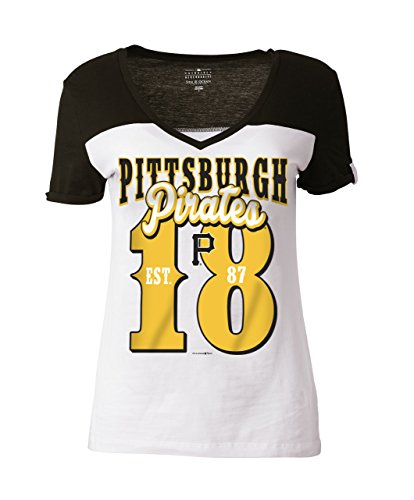 MLB Pittsburgh Pirates Women's Cotton Short Sleeve V-Neck Tee with High Low Hem, White, Medium