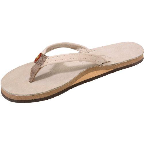 Rainbow Sandals Women Premium Leather Narrow Strap Single Layer, Sand, Large (7.5-8.5)