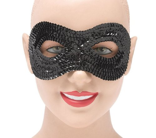 Black Sequin Eye Mask Ball Face Glitter Fancy Dress
