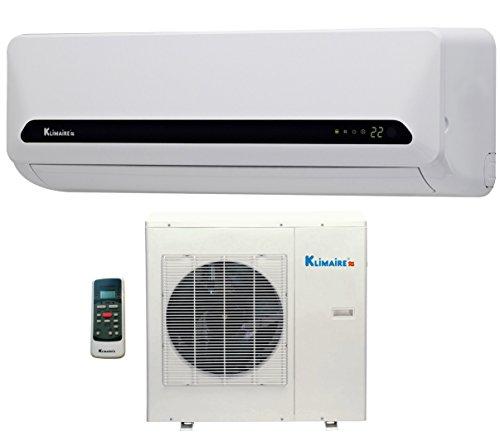 12,000 Btu Klimaire 15 Seer Ductless Mini Split - Dc Inverter Air Conditioner & Heat Pump System - 115 Volt With Free 16 Feet Quick Installation Kit