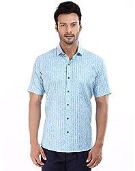 baaamboos Formal Shirts Rich Linen HRL0305 (Blue, 40)