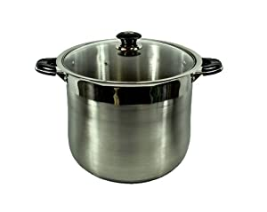 Alpha 5512 Stainless Steel Stock Pot with Glass Lid, 12-Quart