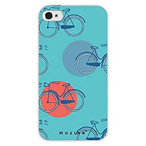 Mozine Cycle Pattern Printed Mobile Back Cover For Apple Iphone 4S